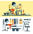 set of hairdresser objects and tools vector image vector image