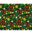 Strawberry pattern in traditional russian style vector image