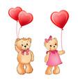 teddy bear couple and balloons vector image