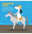 The ridiculous animation dog sits on a horse vector image