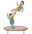 Two men on trampoline vector image vector image
