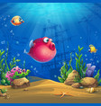undersea world with funny red fish image vector image