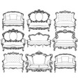 vintage baroque luxury style armchairs furniture vector image vector image