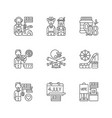 what makes america famous linear icons set vector image vector image