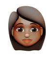 woman emoji icon dark skin tone red hair vector image