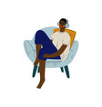 young african american man sitting in armchair and vector image vector image