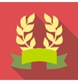Laurel wreath with ribbon icon flat style vector image