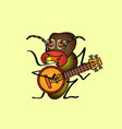 a hungry termite who plays the banjo vintage vector image