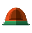 orange dome tent hiking forest camping shadow vector image