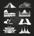 white silhouettes famous landmarks vector image