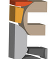 3d font letter e vector image vector image