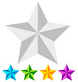 3d star star icon faceted star beveled star white vector image