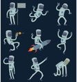 astronauts in space working and having fun vector image vector image