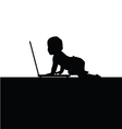 baby front of laptop silhouette vector image vector image
