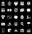 Banking icons on black background vector image vector image