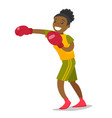black boxer training in boxing gloves vector image vector image