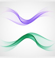 blue and green wave set design element vector image vector image