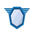 blue shield emblem winged shape geometric badge vector image
