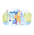 boy helps old grandmother with walker cross road vector image vector image