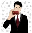 Business man hold credit card vector image vector image