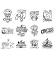 carnival circus badge harlequin with animals vector image vector image
