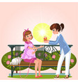 cartoon couple sitting on bench in park vector image vector image