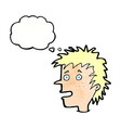 cartoon excited boy with thought bubble vector image vector image