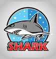 cartoon shark mascot with blue circle vector image