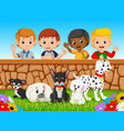 children looking at dogs over the wall vector image