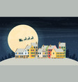 christmas city greeting card - snowy street vector image