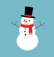 christmas snowman isolated on background vector image vector image
