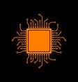 cpu microprocessor orange icon on vector image vector image