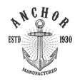 emblem template with anchor design element vector image vector image