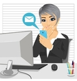 employee woman distracted from work chatting vector image vector image
