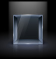 empty glass showcase in cube form for presentation vector image vector image