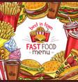 fast food sketch menu poster design vector image vector image