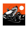 fisherman fishing and sea serpent vector image vector image