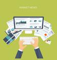 Flat header Online market vector image vector image