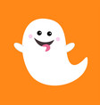 flying ghost spirit showing tongue boo happy vector image