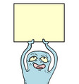 funny puppet with placard vector image vector image