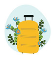 hand drawn travel bag with flowers vector image vector image