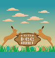 happy easter egg hunt wooden signboard vector image