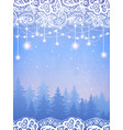 holiday lights with floral lace background vector image vector image