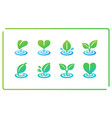 leaf and ripple icon set vector image vector image