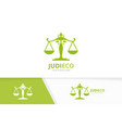 libra and leaf logo combination scales and vector image vector image