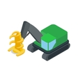 Log loader icon isometric 3d style vector image vector image