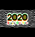 numbers 2020 with happy new year greetings vector image vector image