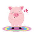 pig with colorful carpet vector image vector image