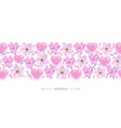 pink hearts flowers and ribbon bows seamless vector image vector image
