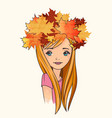pretty girl wearing crown fallen leaves vector image vector image